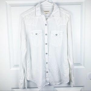 Denim & Supply Ralph Lauren White Snap Button Top